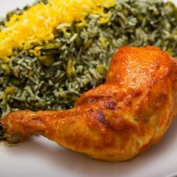 باقالی پلو با مرغ ران